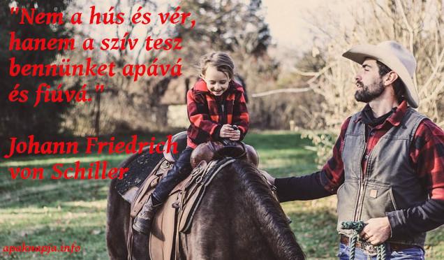 """apa fiú idézet, """"Nem a hús és vér, hanem a szív tesz bennünket apává és fiúvá.""""  Johann Friedrich von Schiller"""